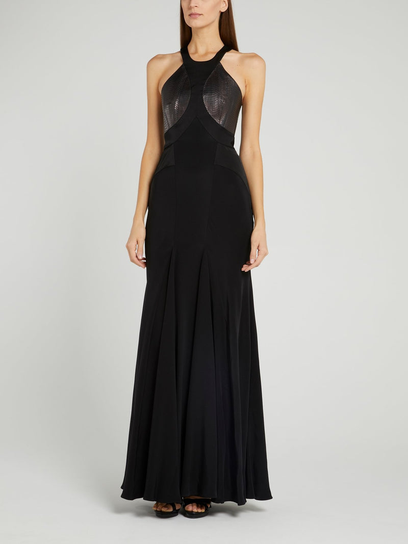 Black Halter Neck Godet Dress