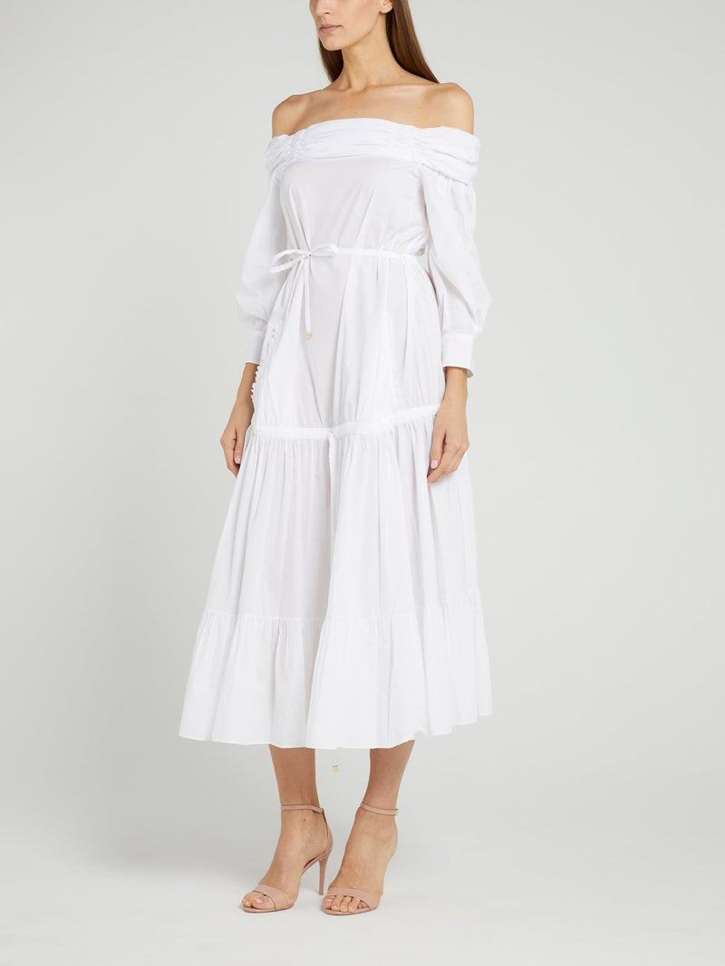 White Off-The-Shoulder Midi Dress
