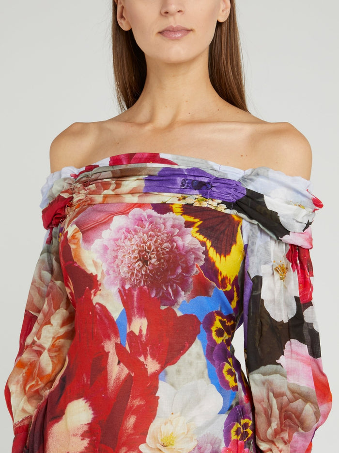 Floral Print Off-The-Shoulder Midi Dress
