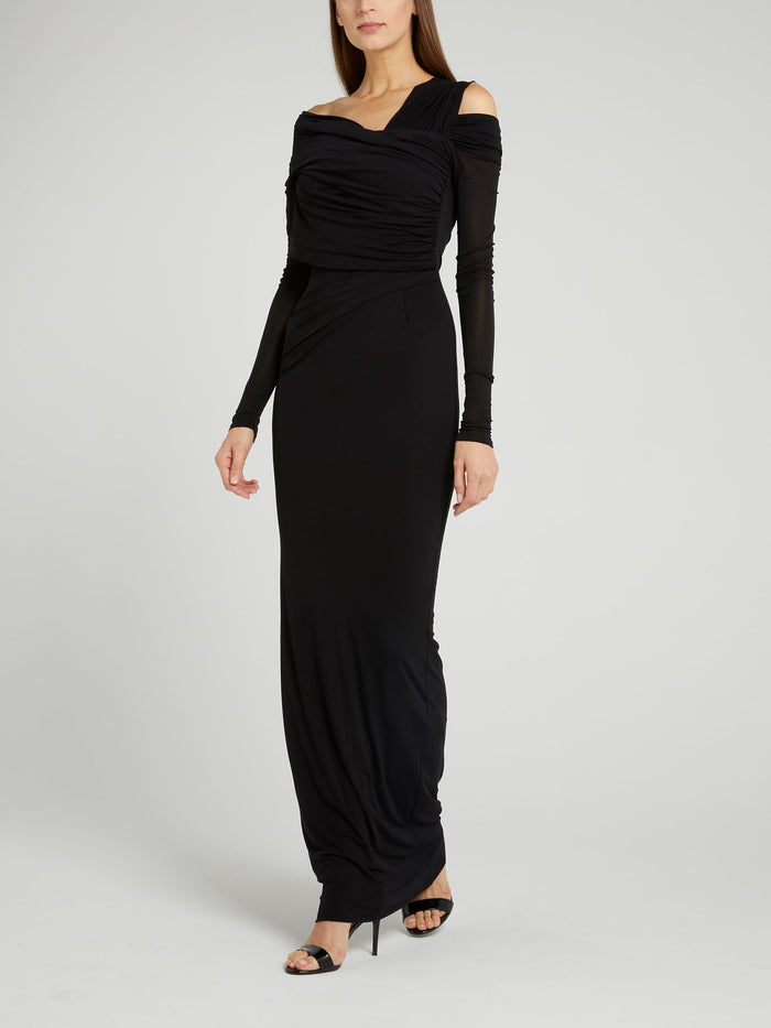 Black Ruched Cold Shoulder Maxi Dress