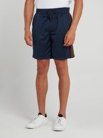 Navy Side Stripe Active Shorts