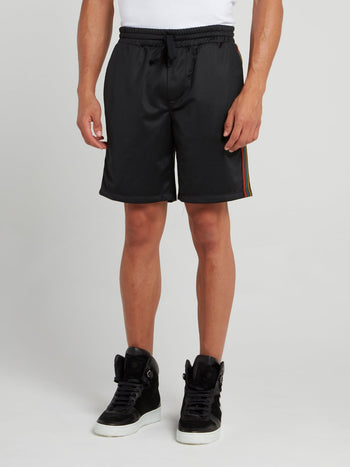 Black Side Stripe Active Shorts