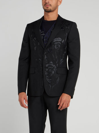 Black Embroidered Wool Blazer