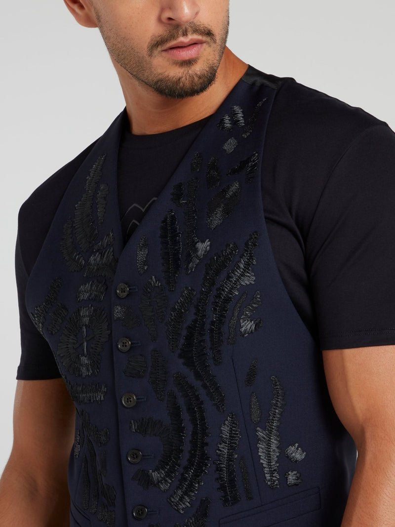 Navy Embroidered Wool Vest