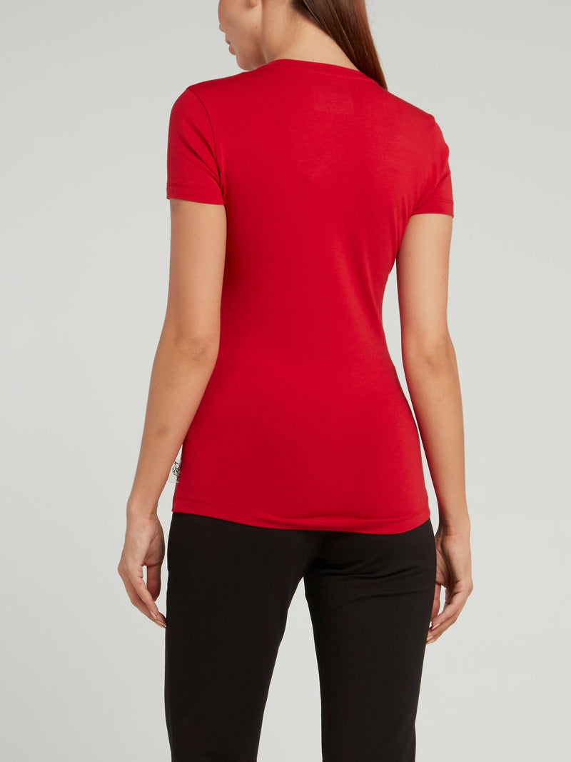Red Round Neck Logo T-shirt