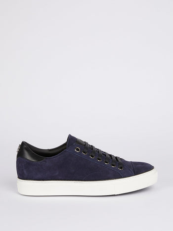 Navy Low Top Suede Sneakers