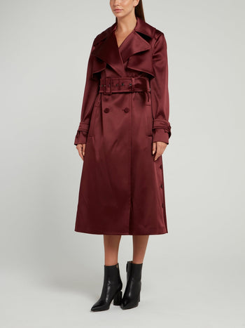 Burgundy Double-Breasted Trench Coat