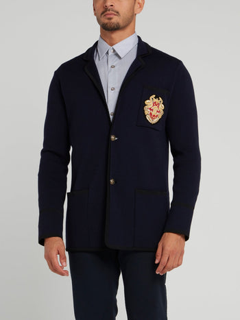 Navy Embroidered Knit Blazer