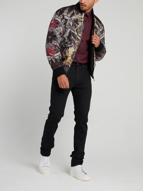 Abstract Print Bomber Jacket