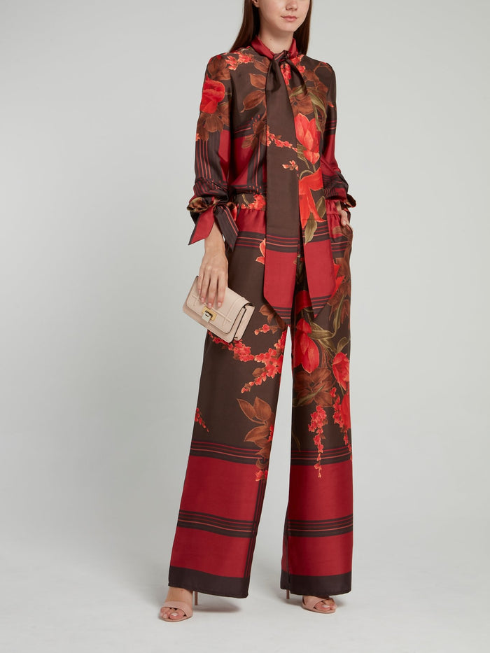 Red Check Floral Wide Leg Pants