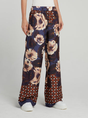 Polka Dot Floral Wide Leg Pants