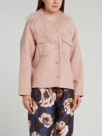 Pink Fur Neck Wool Jacket