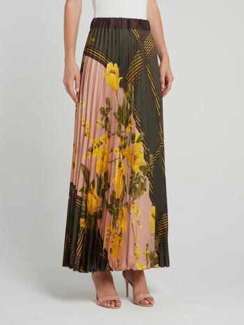 Olive Check Floral Pleated Maxi Skirt