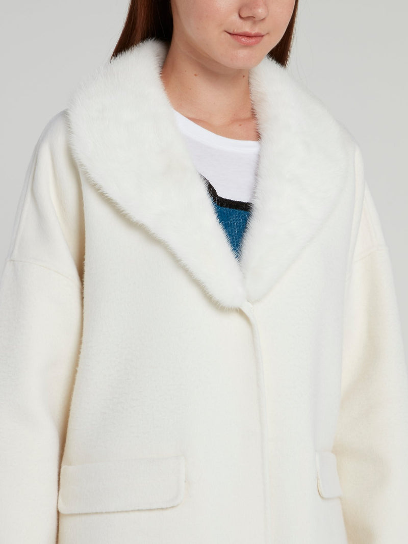 White Fur Neck Wool Coat