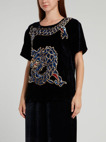 Black Sequin Dragon Velvet Top