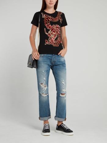 Black Sequin Embellished Dragon T-Shirt