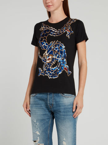Black Embellished Dragon Cotton T-Shirt