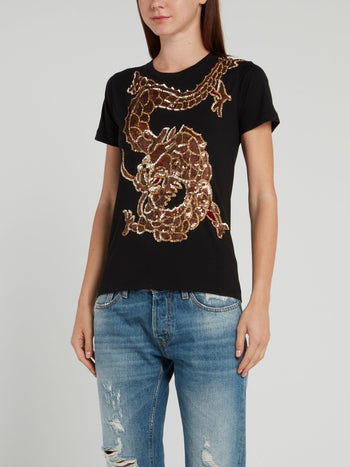 Black Sequin Dragon T-Shirt