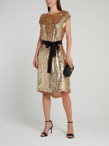 Gold Sequin Bateau Midi Dress