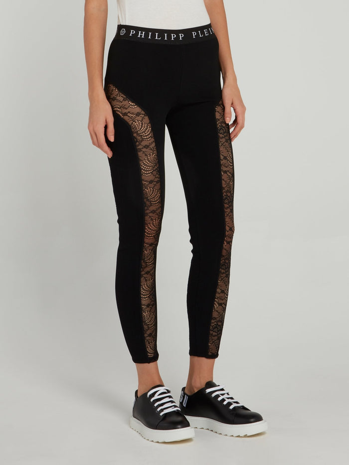 Logo Waistband Lace Panel Leggings