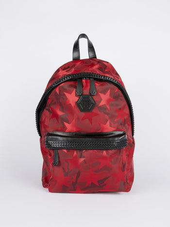 Red Star Print Embellished Backpack