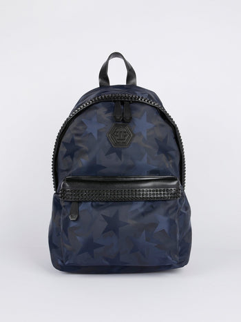Navy Star Print Embellished Backpack