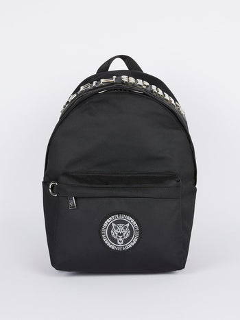 Silver Logo Embellished Mini Backpack