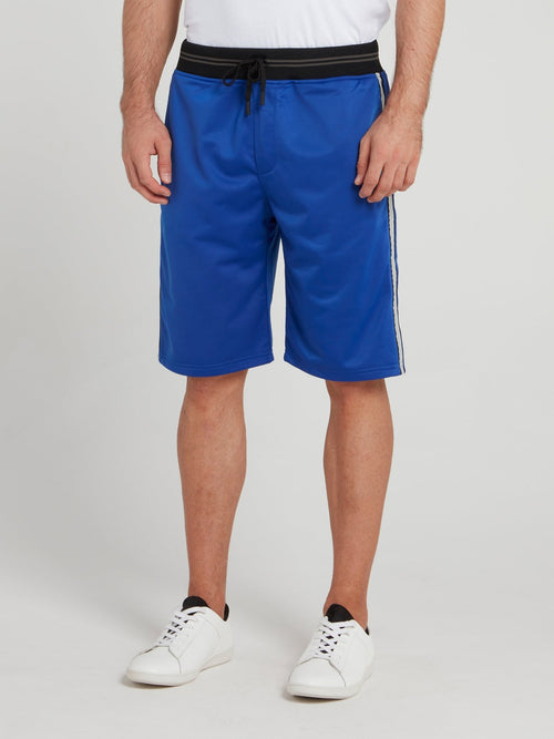 Blue Striped Waistband Shorts