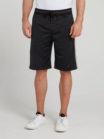 Black Striped Waistband Shorts