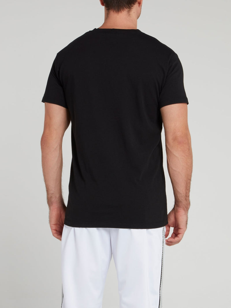 Black Round Neck Statement T-Shirt