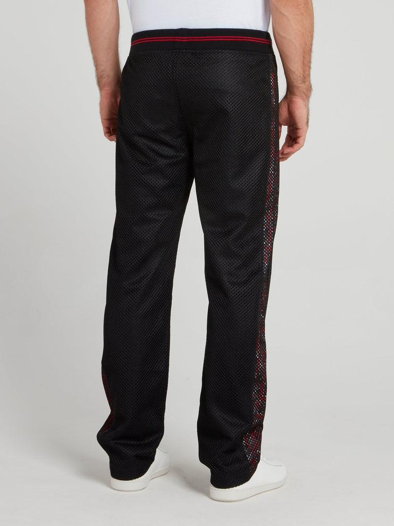 Black Net Track Pants