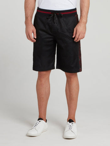 Black Perforated Drawstring Shorts