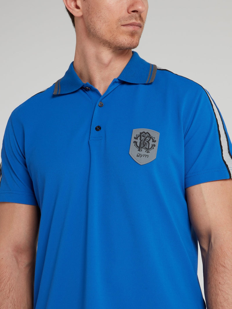 Blue Knitted Logo Polo Shirt