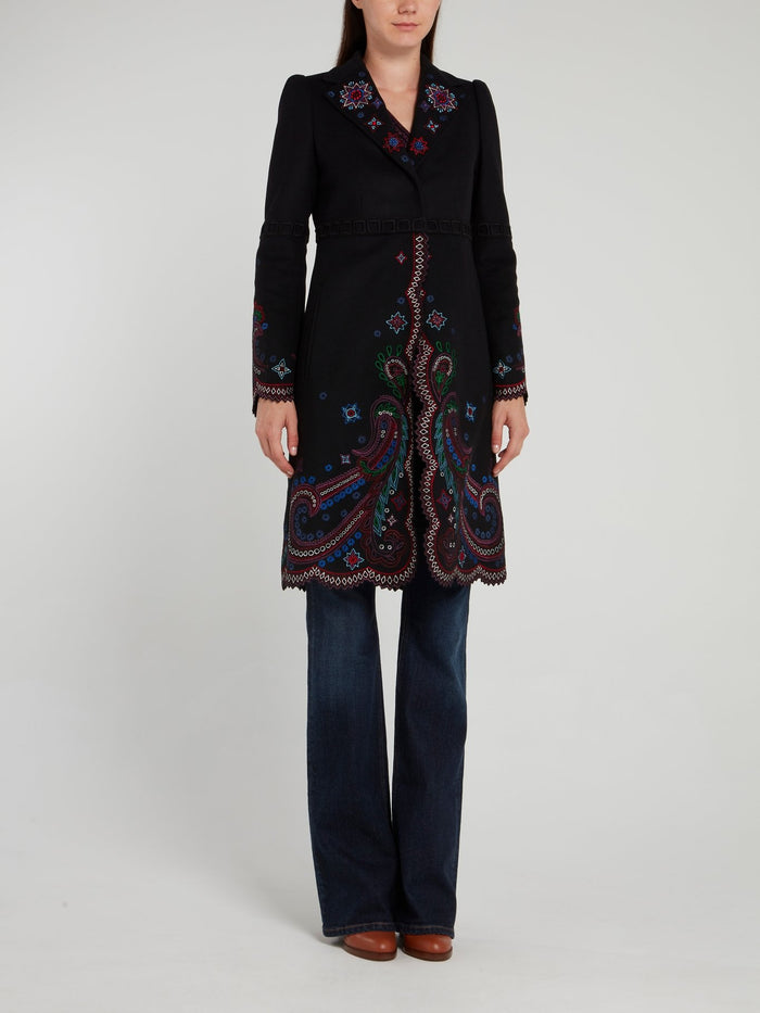 Black Paisley Pattern Embroidered Coat