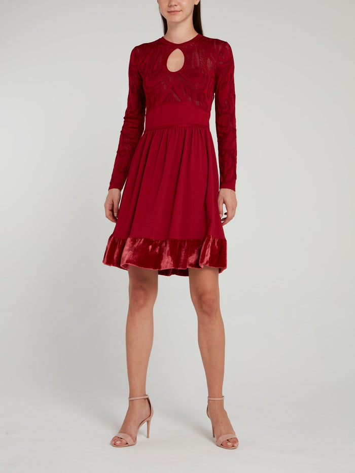 Burgundy Velvet Hem Keyhole Dress