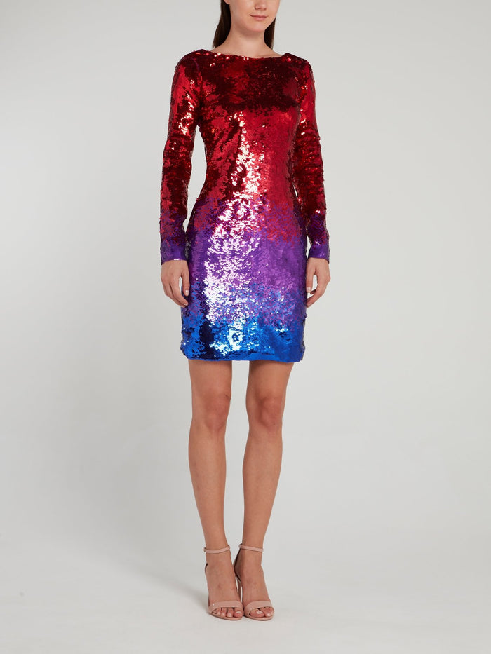 Rear Lace Detail Sequin Mini Dress