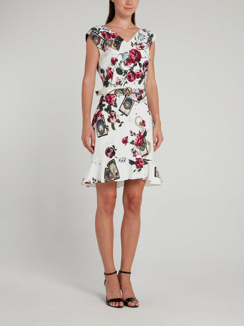 White Floral Print Belted Mini Dress