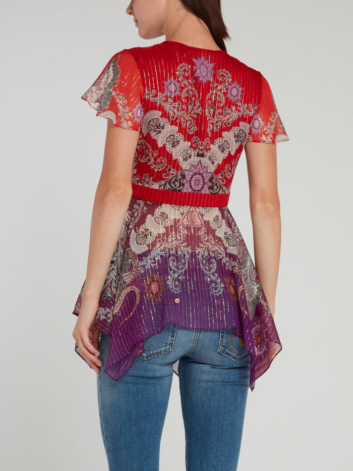 Baroque Print Flared Top