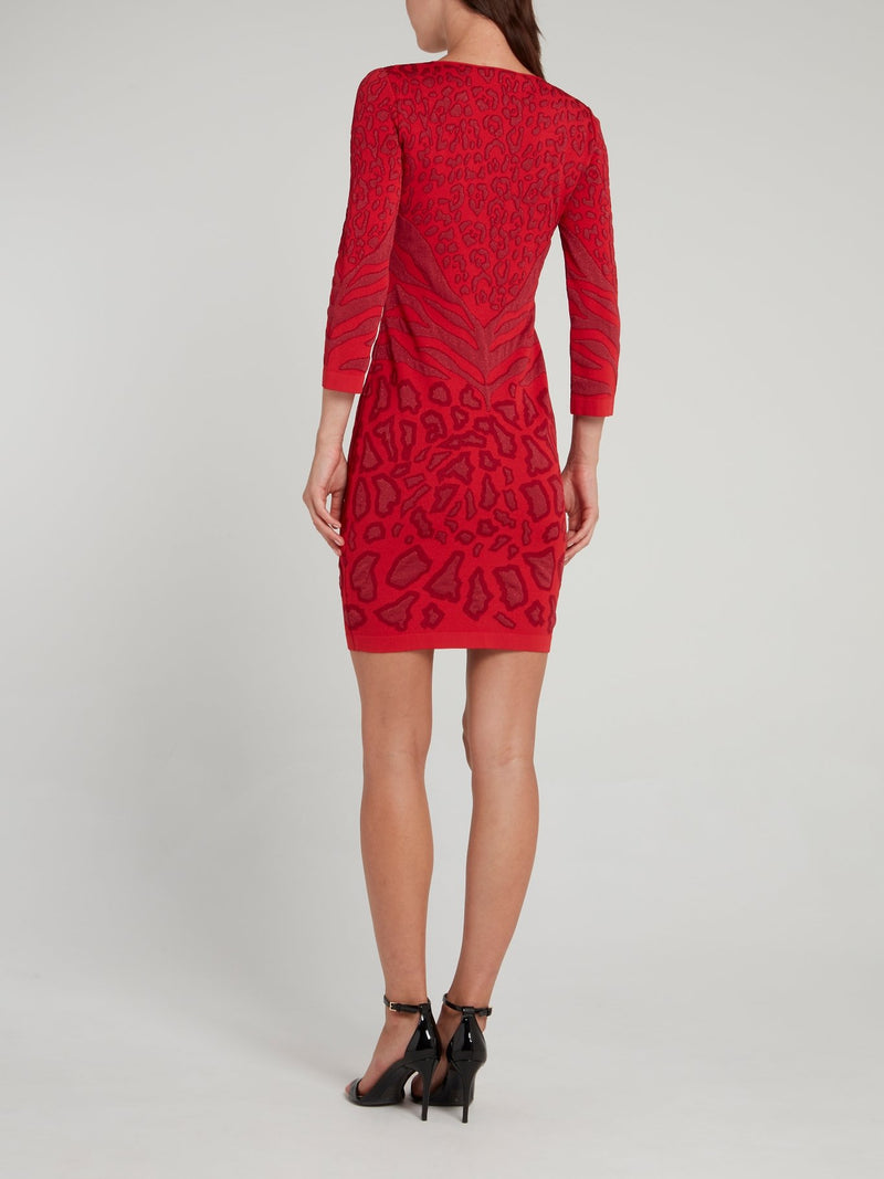 Red Animal Print Scoop Neck Dress
