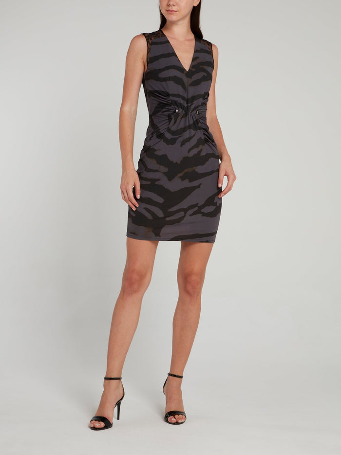 Black Animal Print Ruched Mini Dress