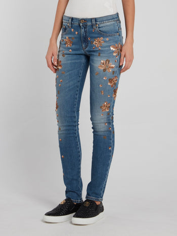 Blue Sequin Detail Skinny Jeans