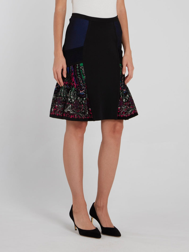 Black Paisley Panel Mini Skirt