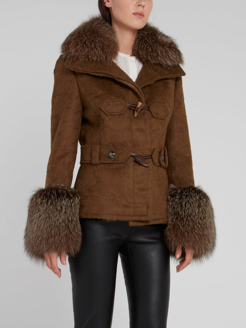 Brown Fur Panel Coat