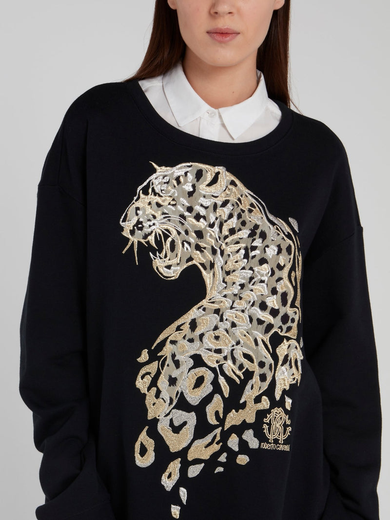 Black Leopard Embroidered Pullover