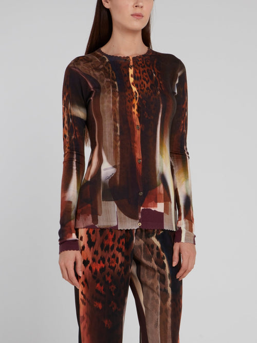 Abstract Print Crewneck Cardigan