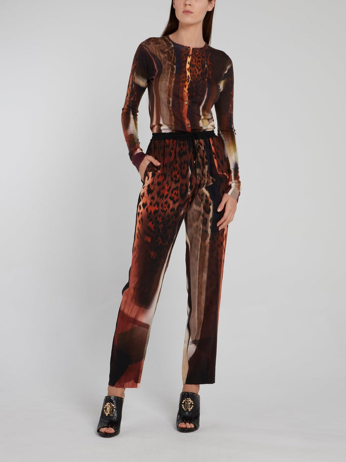 Abstract Print Straight Cut Trousers