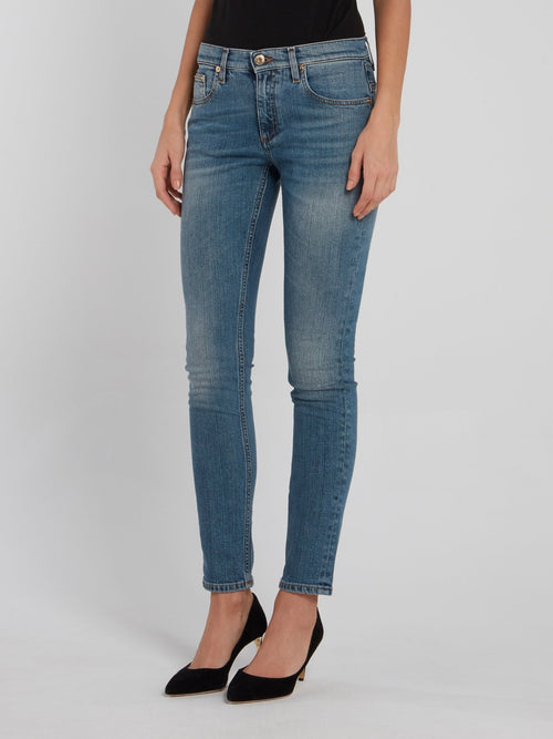 Snake Pocket Denim Skinny Jeans