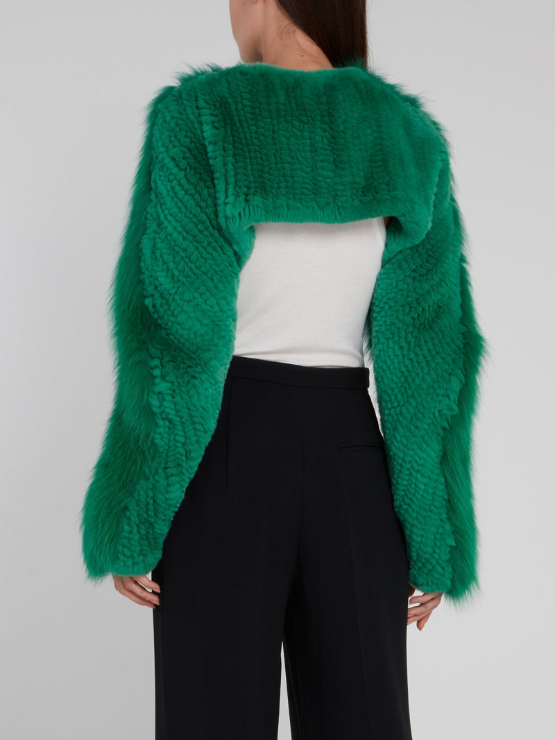 Green Embellished Fur Stole