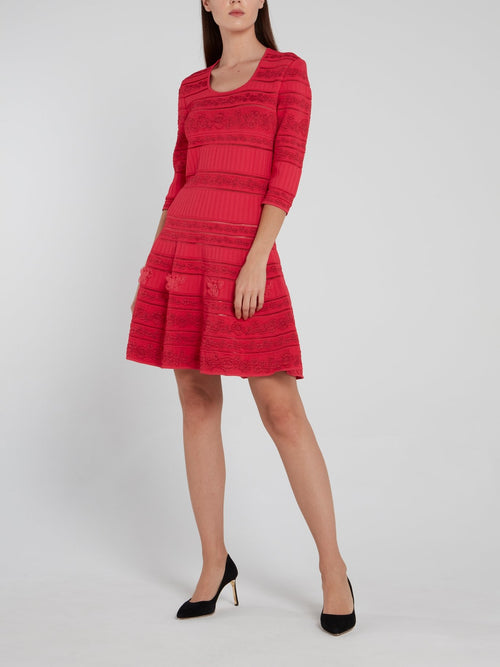 Red Floral Knitted Flared Dress