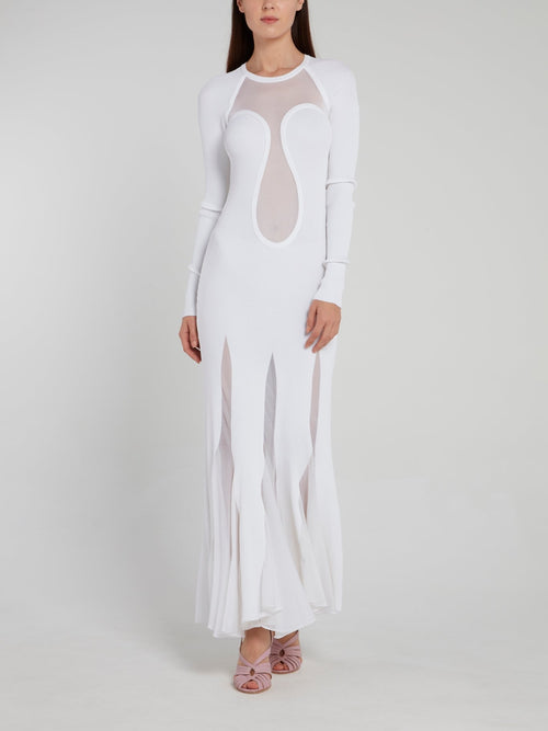 White Godet Knit Maxi Dress
